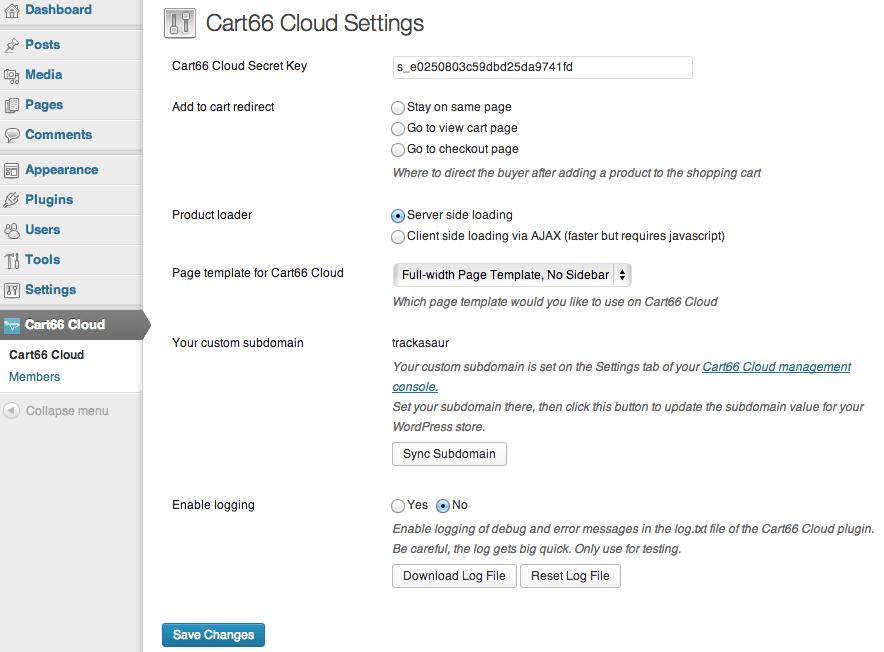 Sell with WordPress | Cart66 WordPress Settings