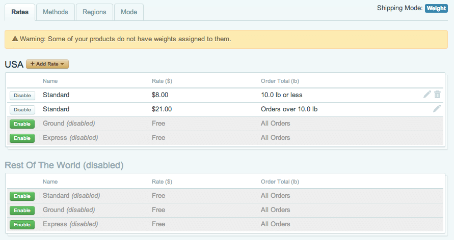 Sell with WordPress | Cart66 Shipping Rate Setup
