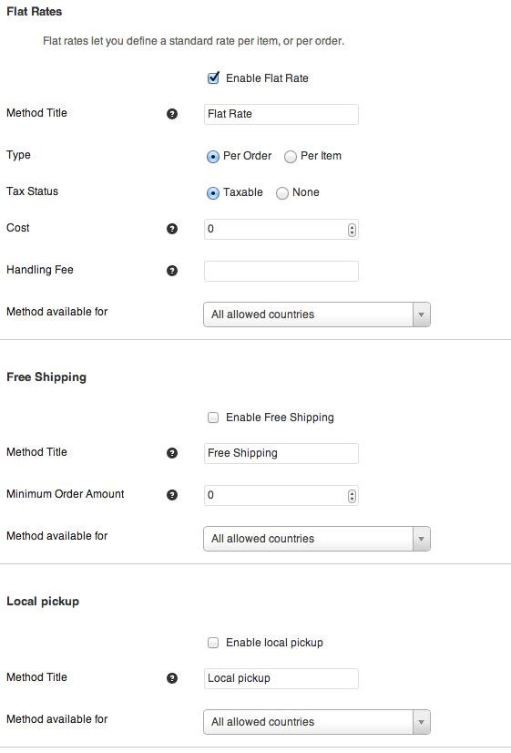 Sell with WordPress   Jigoshop Shipping Options