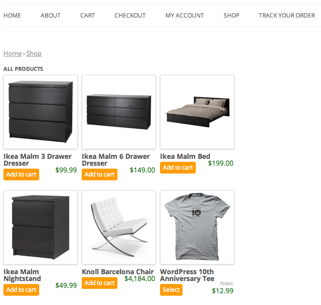 Sell with WordPress   Jigoshop Shopping Page