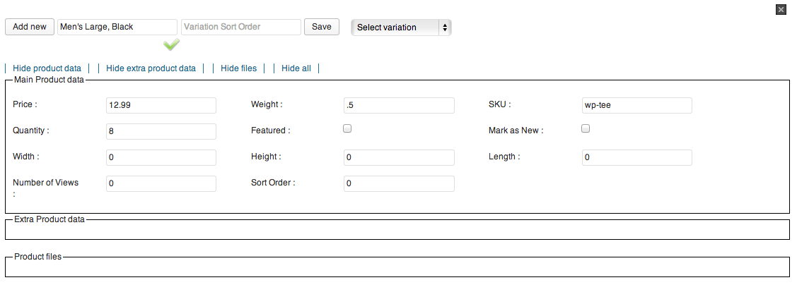 Sell with WordPress | Ready! Cart Adding Variations