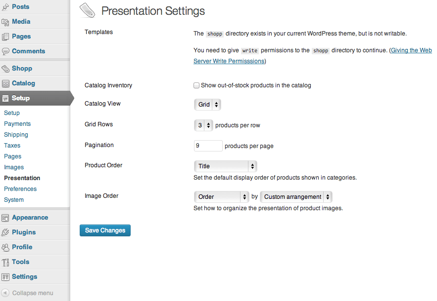 Sell with WordPress   Shopp Presentation Settings
