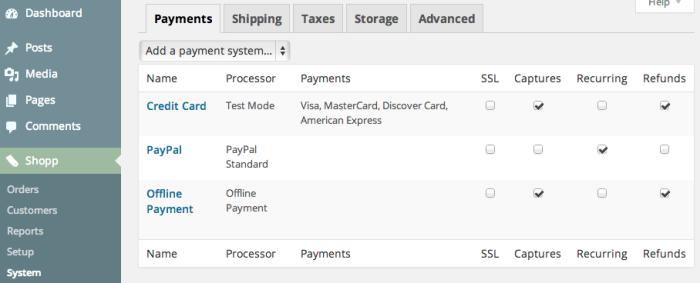 Sell using WordPress | Shopp 1.3 Admin Menu