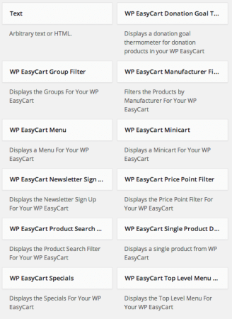 WP EasyCart Built-in Widgets