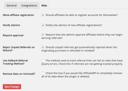 AffiliateWP Review | Settings
