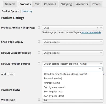 WooCommerce product sorting settings