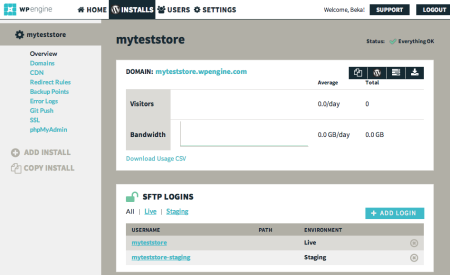 WP Engine Review | Dashboard: Installs