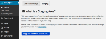 WP Engine Review   Staging area