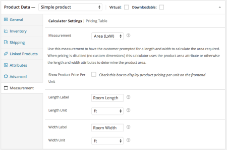 WooCommerce measurement price calculator enter labels