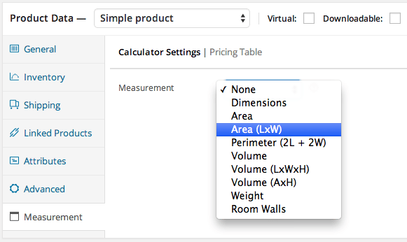 WooCommerce Measurement Price Calculator Select Measurement Type