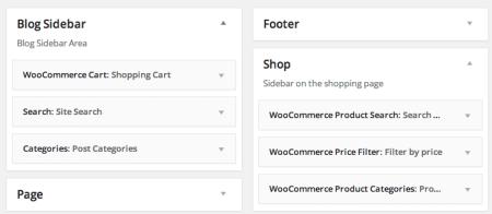 WooCommerce themes| Zeon widget areas