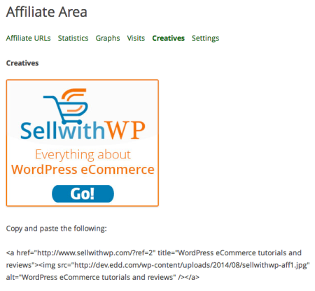 AffiliateWP Review | Creatives Tab