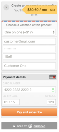 Gumroad Payment Form