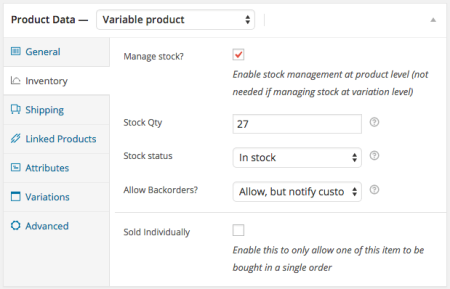 WooCommerce 2.1 Variable Product Stock