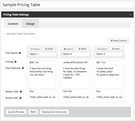 Create Pricing Tables with WordPress eCommerce