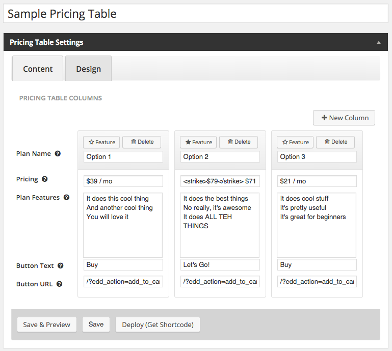Create pricing tables with wordpress ecommerce plugins for Table design wordpress plugin