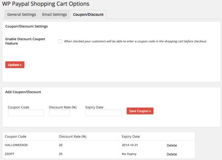 WordPress Simple PayPal Shopping Cart | coupons