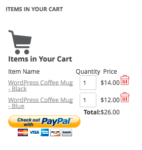 WordPress Simple PayPal Shopping Cart | cart widget