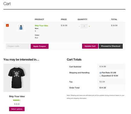 Storefront Best free WooCommerce theme | cart page