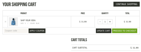 Best WooCommerce themes | Crux review:  cart