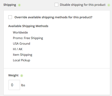 iThemes Exchange Table Rate Shipping | item settings