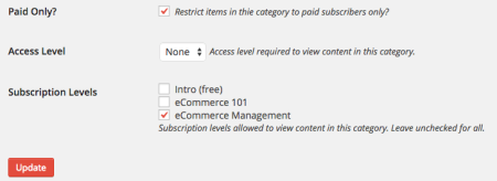 Restrict Content Pro Review: category restriction
