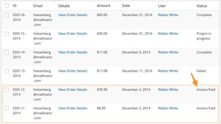 Easy Digital Downloads custom payment status: bulk changes applied