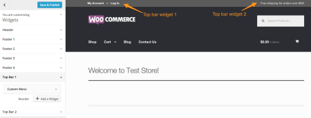 WooCommerce theme Storefront top bar