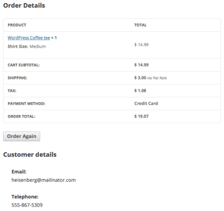 WooCommerce 2.3 Review: 2.2 view order