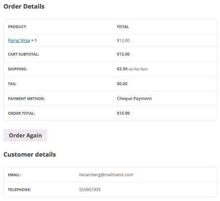 WooCommerce 2.3 Review:  2.3 view order