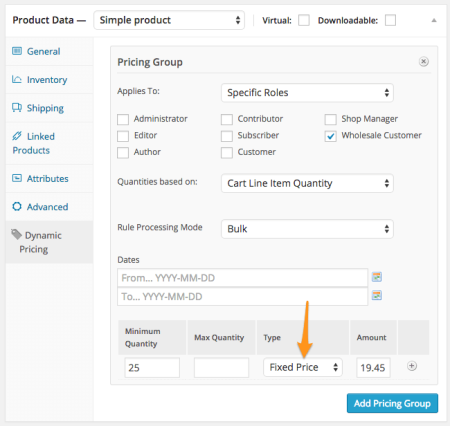 WooCommerce Wholesale dynamic pricing fixed price
