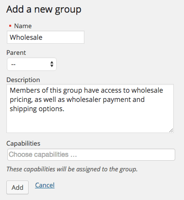 WooCommerce wholesale group