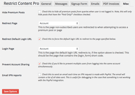 Restrict Content Pro 2.1 Review: old misc settings