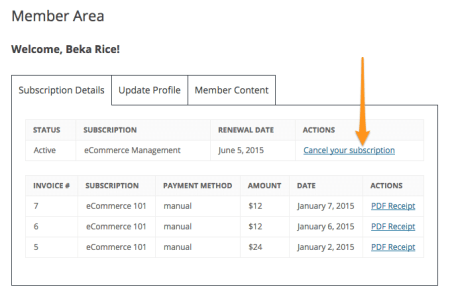 Restrict Content Pro 2.1 Review: member cancellation