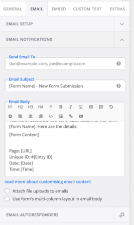 FormCraft Review: email settings