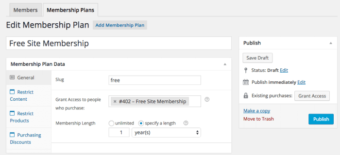 WooCommerce Memberships Review: general plan settings
