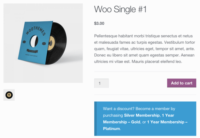 WooCommerce memberships review: discount notice