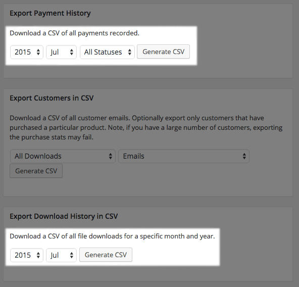 Easy Digital Downloads 2.4 Review: 2.3 exports