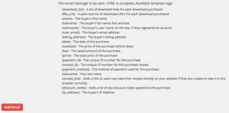 Easy Digital Downloads Conditional Emails: merge tags