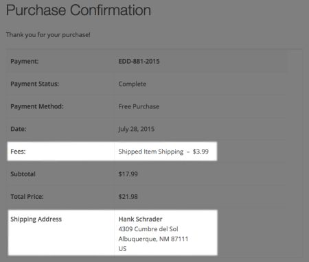 Easy Digital Downloads Simple Shipping:  purchase confirmation