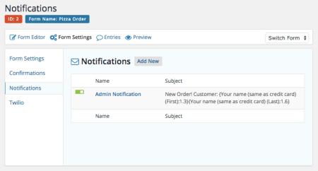 Online Ordering: Set notifications