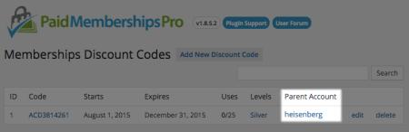 Paid Memberships Pro  sponsored discount code
