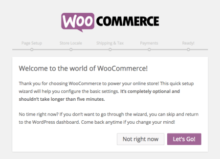 WooCommerce 2.4 Review: set up wizard