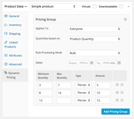 WooCommerce Dynamic Pricing product quantity discount