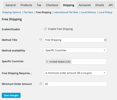 WooCommerce Free Shipping settings