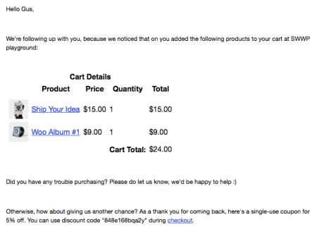 WooCommerce abandoned cart pro email sample