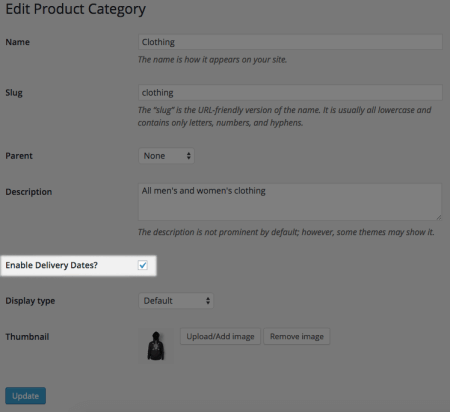 WooCommerce Order Delivery Date Pro category settings