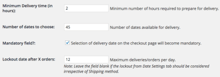 WooCommerce Order Delivery Date Shipping Method settings 2