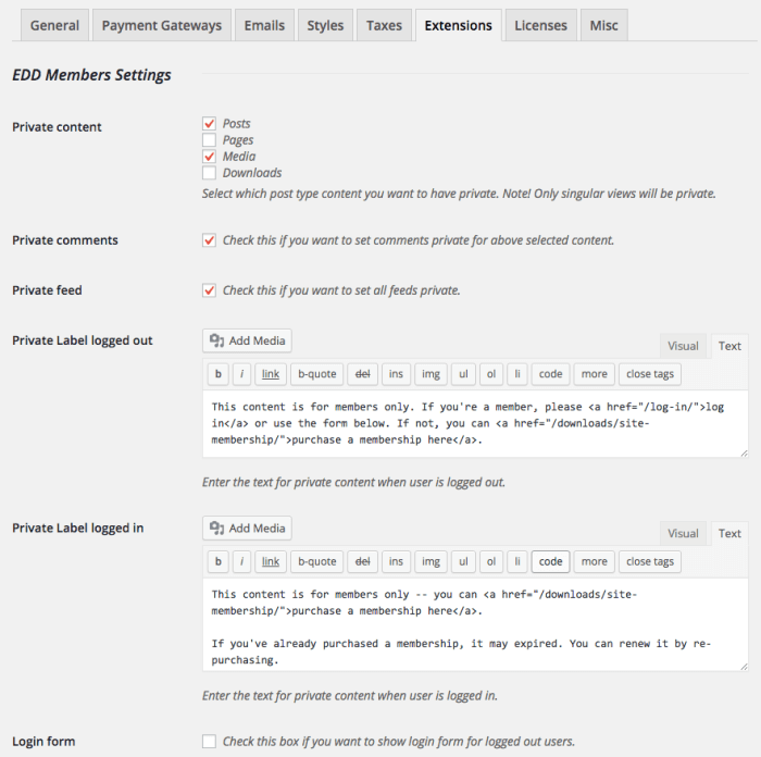 EDD Members Review:  settings 1