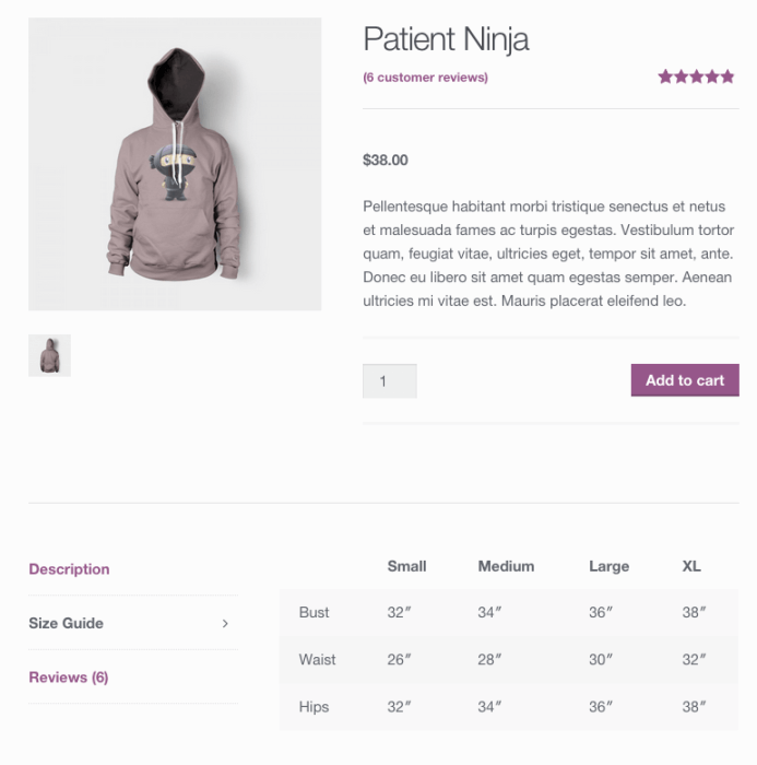 WooCommerce size guide tab displayed
